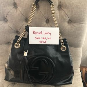 Gucci black patent soho chain shoulder bag